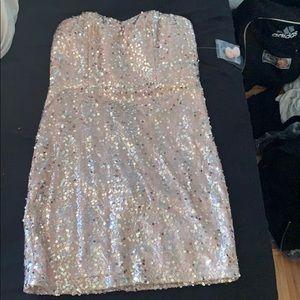 Strapless pink sequins dress